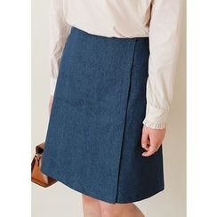 J-ANN - Wrap-Front Denim A-Line Skirt