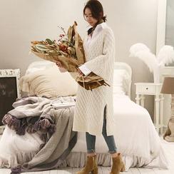 NANING9 - Kimono-Sleeve Wool Blend Knit Dress