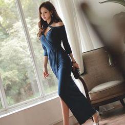 Clospace - Off-shoulder Halter Dress