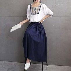 SEYLOS - Set: Embroidered Top + Long Skirt