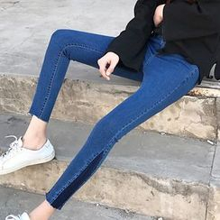 Dute - Color Panel High Waist Skinny Pants