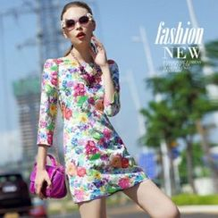 Ozipan - 3/4-Sleeve Floral Sheath Dress