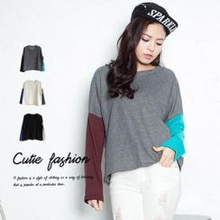 CUTIE FASHION - Panel Long-Sleeve Loose-Fit Top