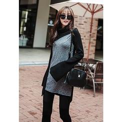 REDOPIN - Turtleneck Color-Block Sweater