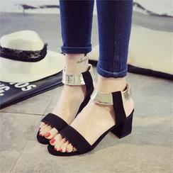 Chryse - Metallic Ankle Strap Chunky Heel Sandals