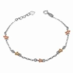 MaBelle - 14K Yellow, Rose And White Gold Diamond Cut Star Bracelet (17.5cm)
