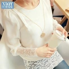 Rivari - Lace Panel Long-Sleeve Chiffon Top