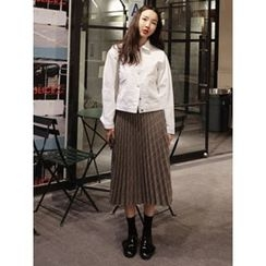 maybe-baby - Check Pleated Long Skirt