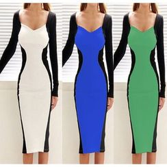 Forest Of Darama - Long-Sleeve Contrast Colour Sheath Dress