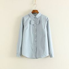 Mushi - Bow Detail Long-Sleeve Shirt