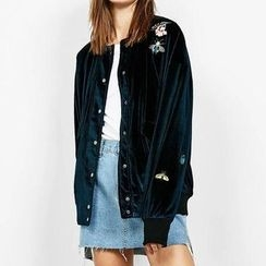 Chicsense - Embroidered Button Jacket