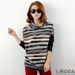 OrangeBear - Long-Sleeve Cowlneck Striped Top