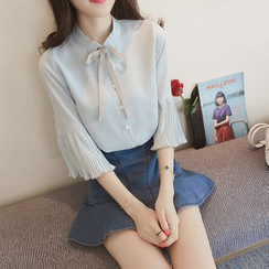 Enocula - Flare-Sleeve Tie-Neck Blouse