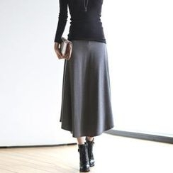 Jcstyle - Brushed-Fleece A-Line Long Skirt