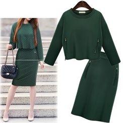 Coronini - Set: Zip Pullover + Slit Skirt