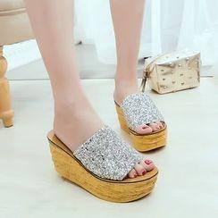 BAYO - Platform Glitter Slide Sandals