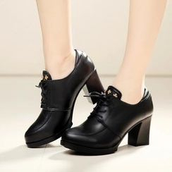 Hannah - Genuine Leather Oxford Pumps