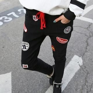 The Shop Story - Drawstring-Waist Appliqué Sweatpants