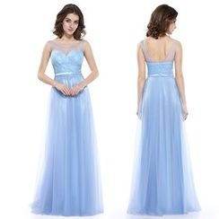 Ever Pretty - Sleeveless Sheer Panel Evening Gown