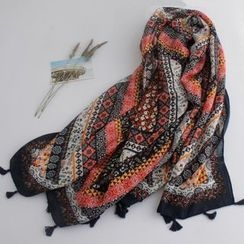 Ms Bean - Tasseled Linen Cotton Scarf