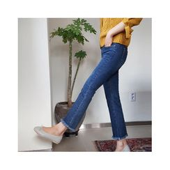 LEELIN - Fringed-Hem Boot-Cut Jeans