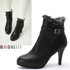 MODELSIS - Genuine Leather Faux-Fur Trim Buckled Ankle Boots