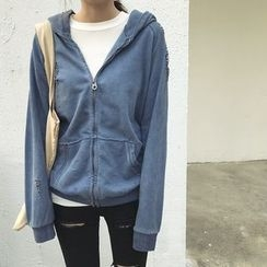 ByPeggie - Hooded Ripped Zip Jacket