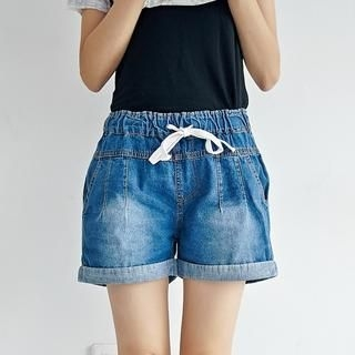 BAIMOMO - Cuffed Washed Denim Shorts