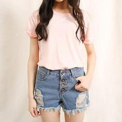 Amella - Fray-Hem Distressed Denim Shorts