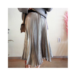 LEELIN - Metallic Pleated Long Skirt
