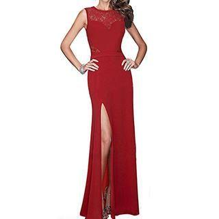 Sexy Romantie - Lace Panel Sleeveless Sheath Evening Gown