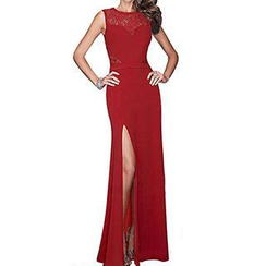 Sexy Romantie - Lace Panel Sleeveless Sheath Evening Gown