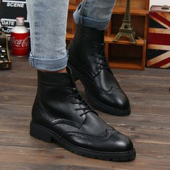 Hipsteria - 雕花内增高高帮皮短靴