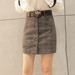 Maine - Buttoned Plaid Pencil Skirt
