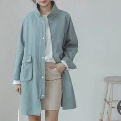 JUSTONE - Stand-Collar Fla-Pocket Cotton Coat