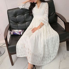 Fashion Street - Bell-Sleeve Smocked Waist Maxi Lace Dress