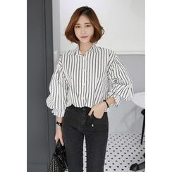 Miamasvin - Puff-Sleeve Pinstriped Shirt