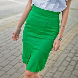 GUMZZI - Slit-Front Pencil Skirt