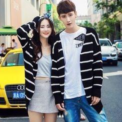 Bay Go Mall - Striped Couple Matching Cardigan