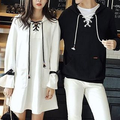Azure - Couple Matching Cross Neck Hoodie / Hooded Long-Sleeve Pullover Dress
