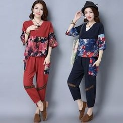 Diosa - Set: Printed Panel Short Sleeve T-Shirt + Baggy Pants