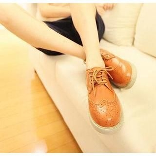Mr.hezi - Wingtip Perforated Couple Oxford Shoes