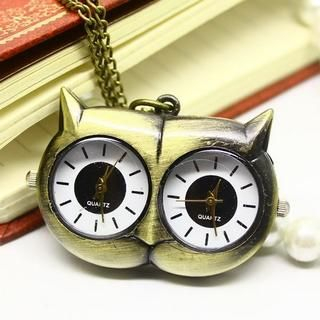 Miss Girl - Dual-Dial Owl Pocket Watch