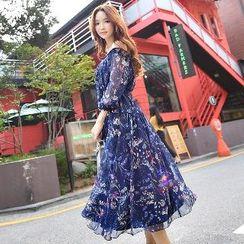 Dabuwawa - Off-Shoulder Floral Chiffon Dress