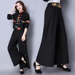 Diosa - Flower Embroidered Wide Leg Pants