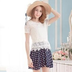 Tokyo Fashion - Short-Sleeve Lace Panel Dotted Dress