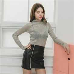 clubber - Faux-Leather Zip-Detailed Skirt