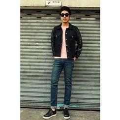 Ohkkage - Faux-Leather Sleeve Denim Jacket