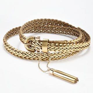 Moonbasa - Tasseled Faux-Leather Woven Belt