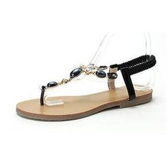 MODELSIS - Faux-Leather Rhinestone Thong Sandals